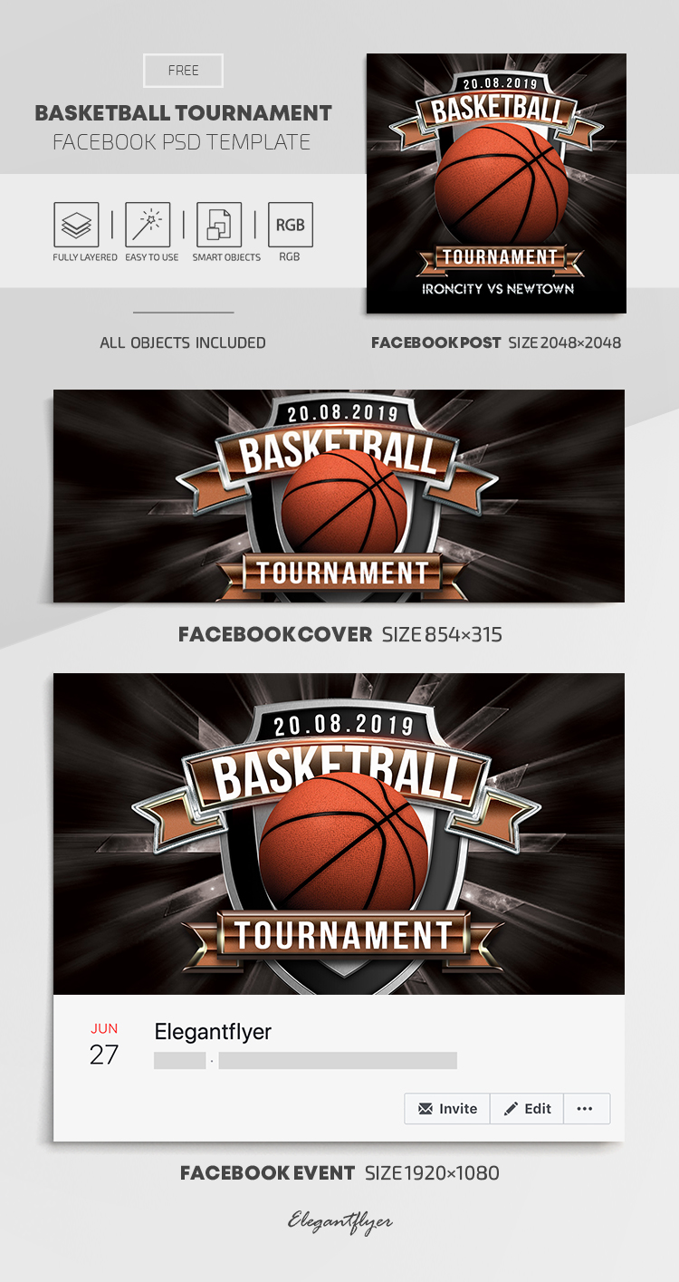Basketball Tournament – Free Facebook Cover Template in PSD + Post + Event cover