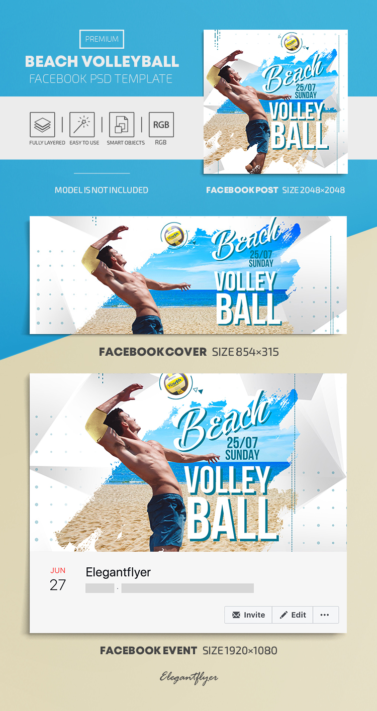 Beach Volleyball – Facebook Cover Template in PSD + Post + Event cover