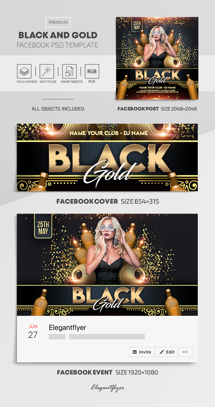 Black and Gold – Facebook Cover Template in PSD + Post + Event cover