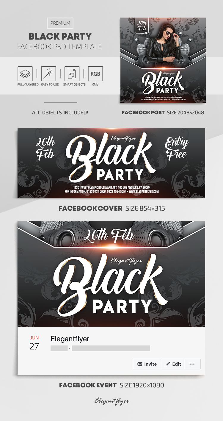 Black Party – Facebook Cover Template in PSD + Post + Event cover
