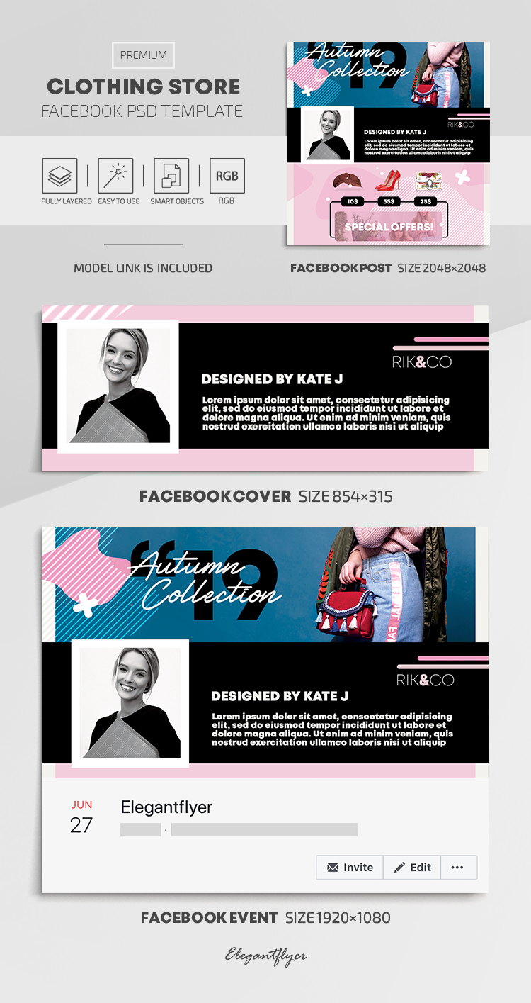 Clothing Store – Facebook Cover Template in PSD + Post + Event cover