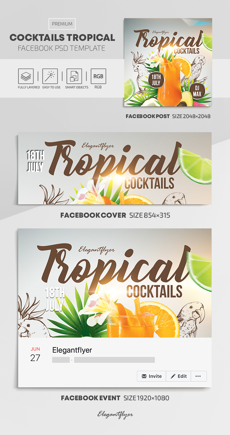 Cocktails Tropical – Facebook Cover Template in PSD + Post + Event cover