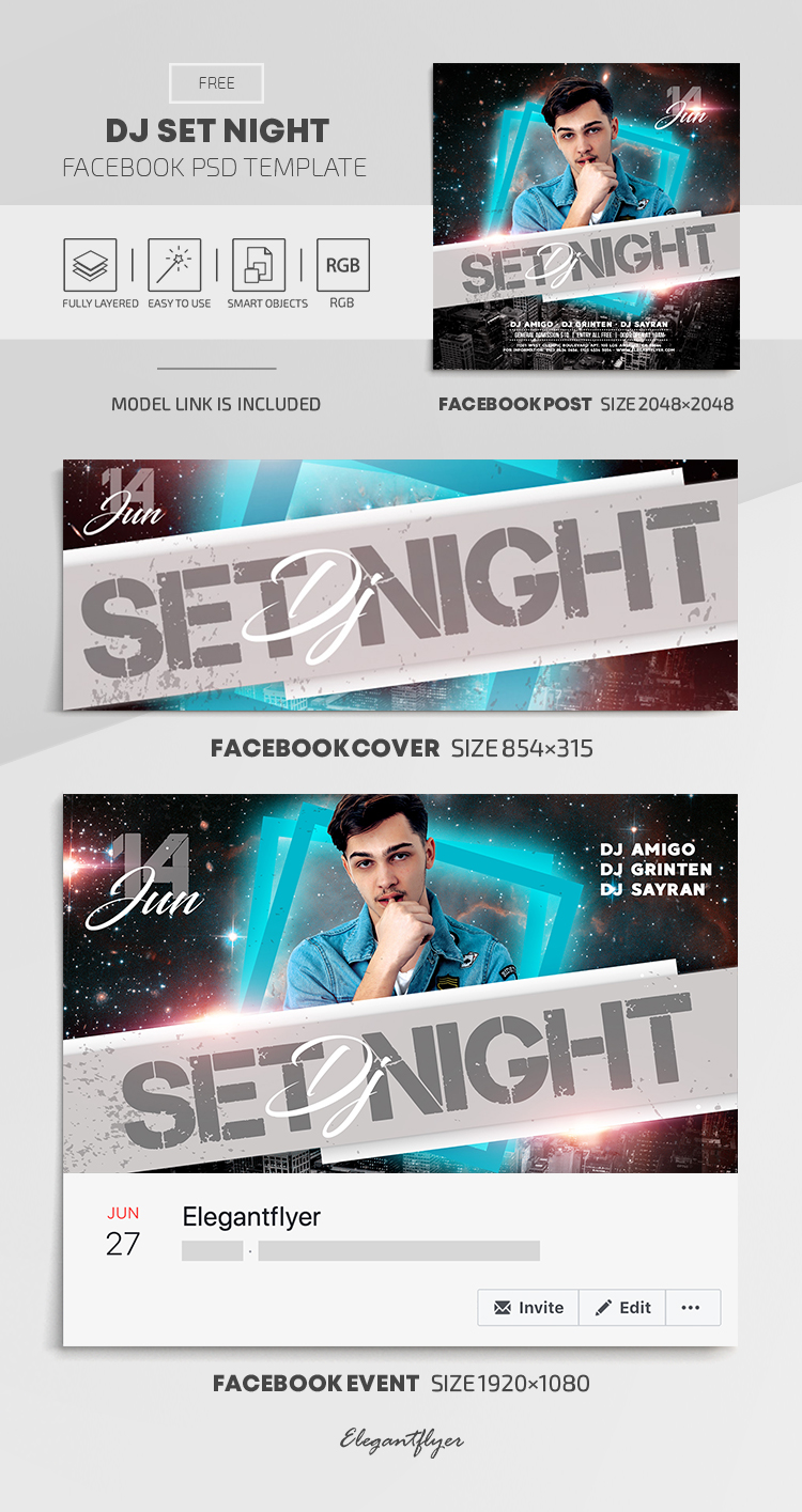 DJ Set Night – Free Facebook Cover Template in PSD + Post + Event cover