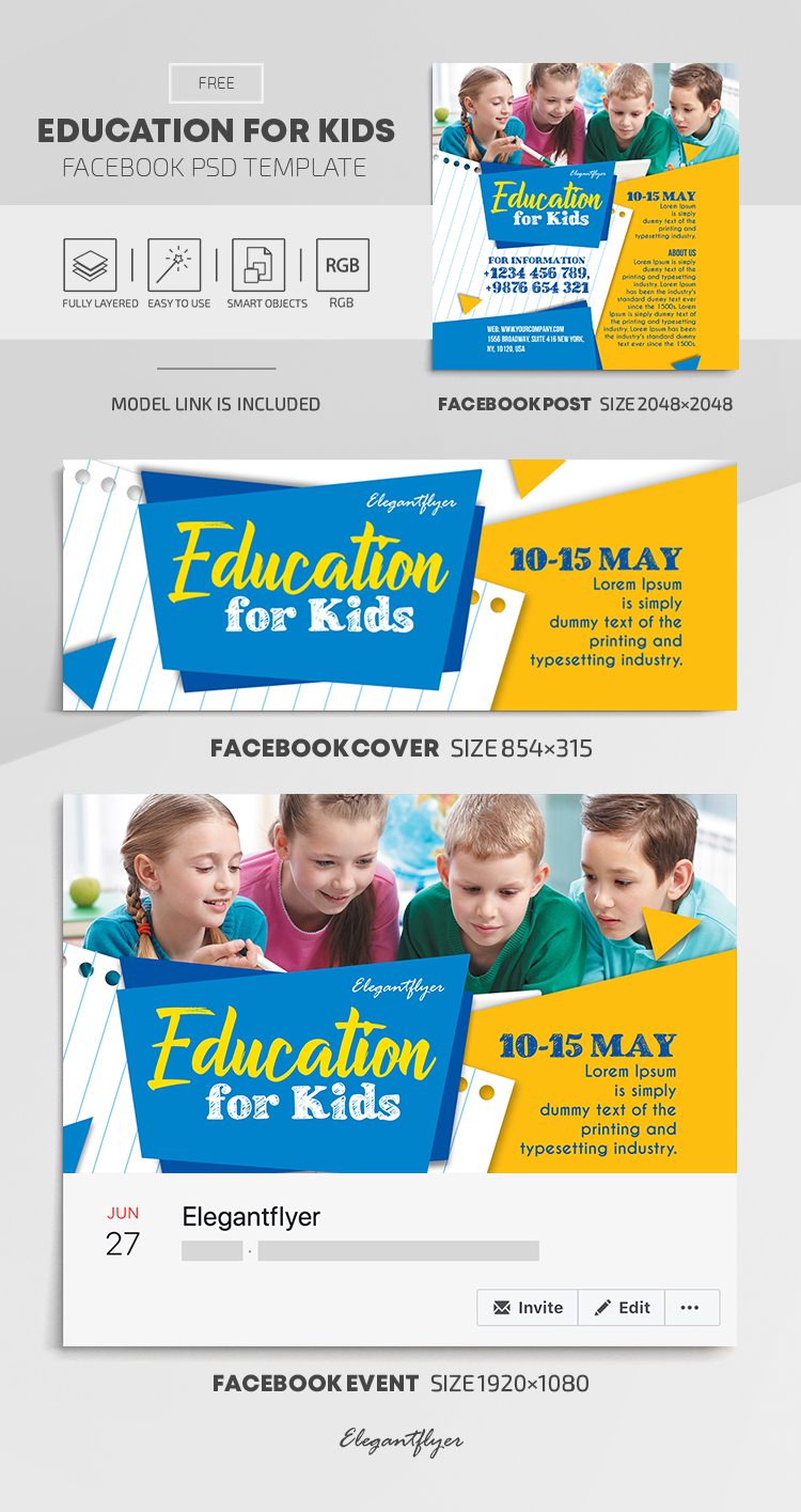 Education for Kids – Free Facebook Cover Template in PSD + Post + Event cover