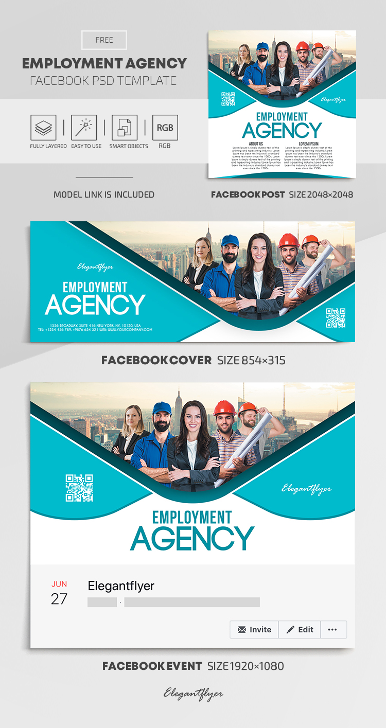 Employment Agency – Free Facebook Cover Template in PSD +