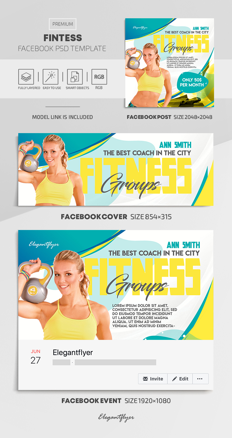 Fintess – Facebook Cover Template in PSD + Post + Event cover