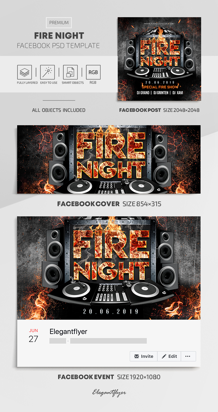 Fire Night – Facebook Cover Template in PSD + Post + Event cover