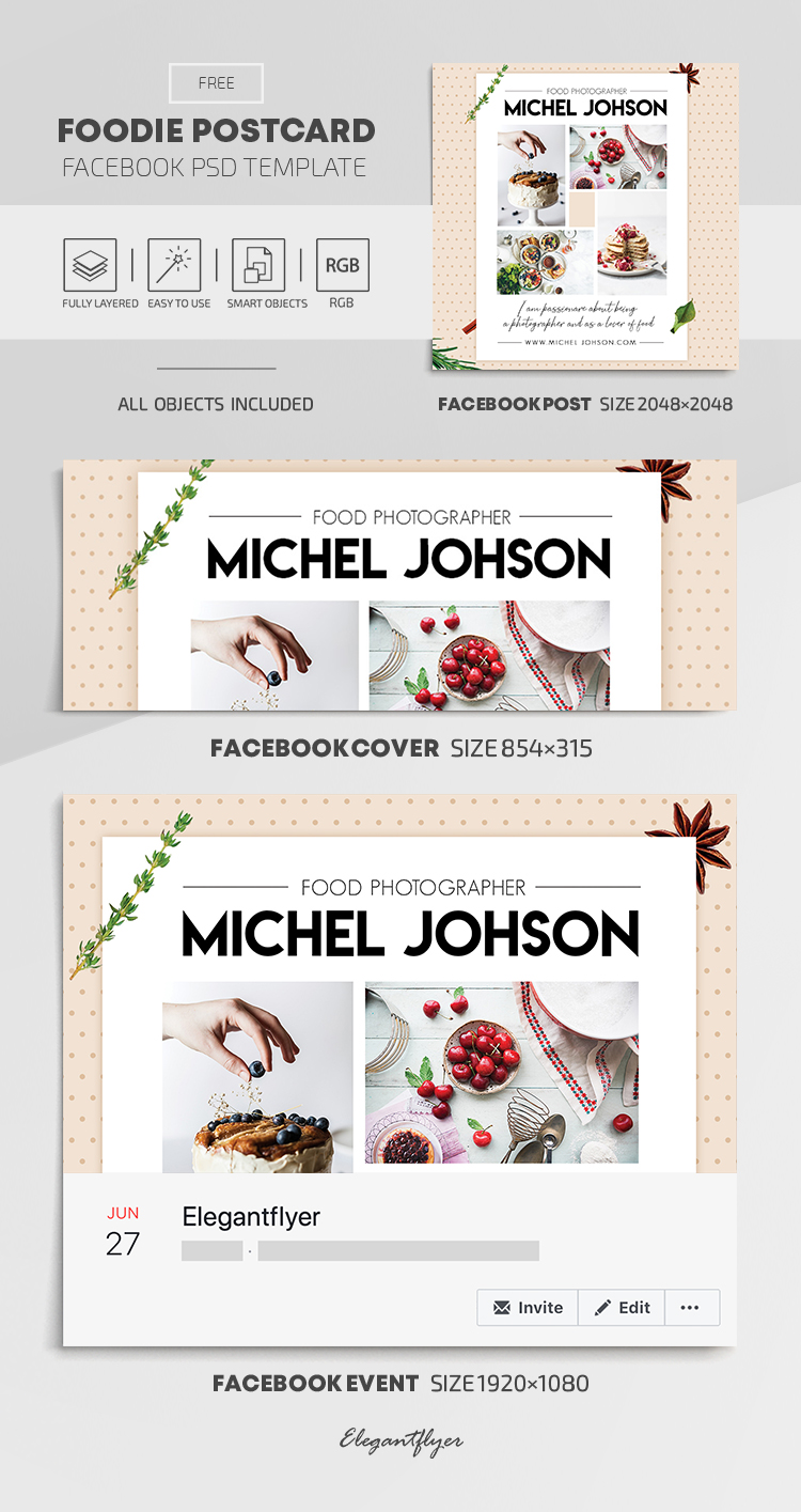 Foodie Postcard – Free Facebook Cover Template in PSD + Post + Event cover