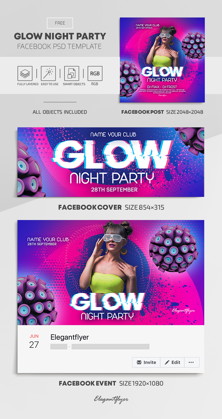 Glow Night Party – Free Facebook Cover Template in PSD + Post + Event cover