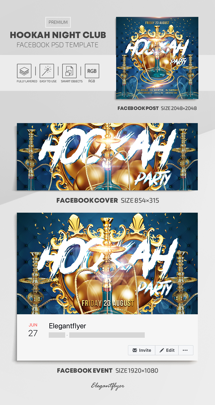 Hookah Night Club – Facebook Cover Template in PSD + Post + Event cover