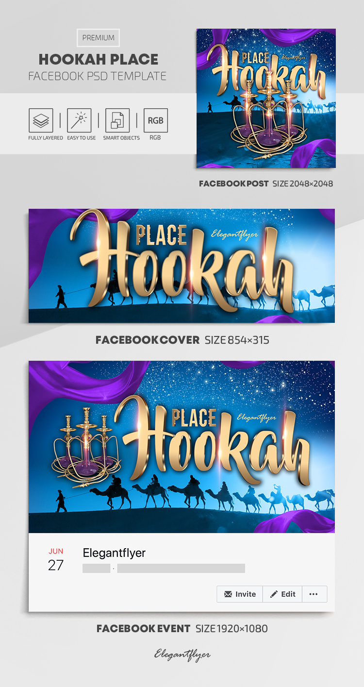 Hookah Place – Facebook Cover Template in PSD + Post + Event cover