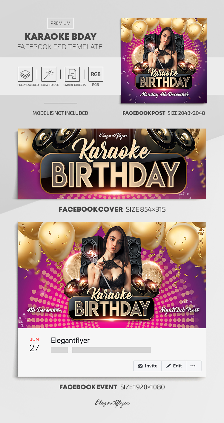 Karaoke Bday – Facebook Cover Template in PSD + Post + Event cover