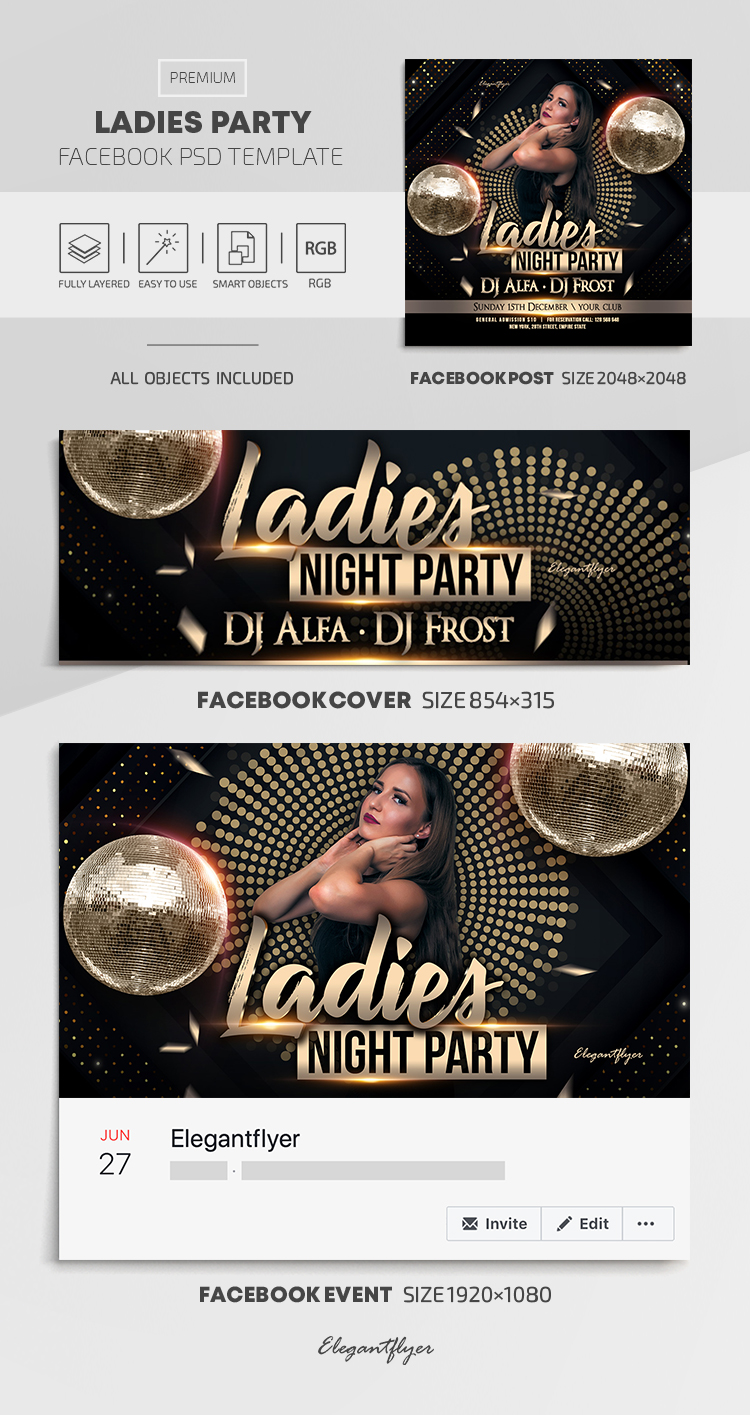 Ladies Party – Facebook Cover Template in PSD + Post + Event cover