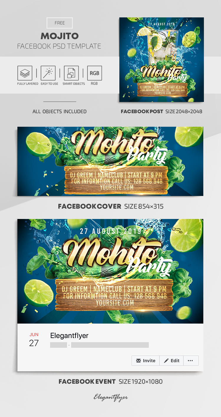 Mojito Club Party – Free Facebook Cover Template in PSD + Post + Event cover