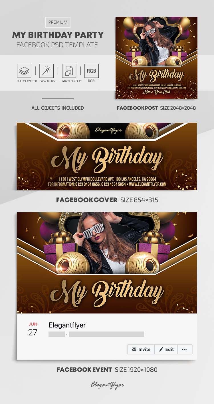 My Birthday Party – Facebook Cover Template in PSD + Post + Event cover
