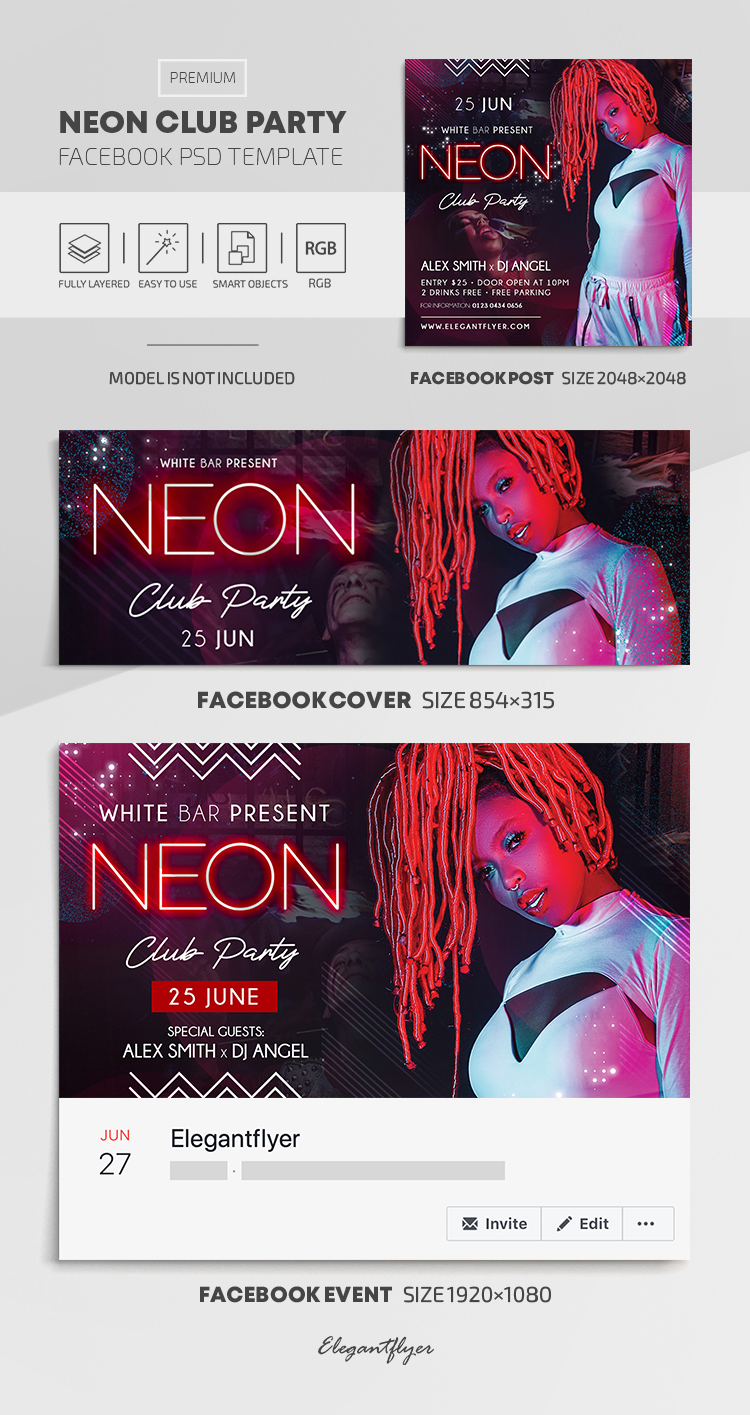 Neon Club Party – Facebook Cover Template in PSD + Post + Event cover