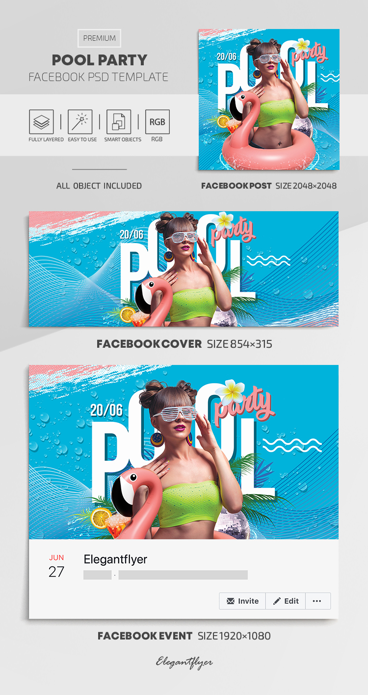 Pool Party – Facebook Cover Template in PSD + Post + Event cover