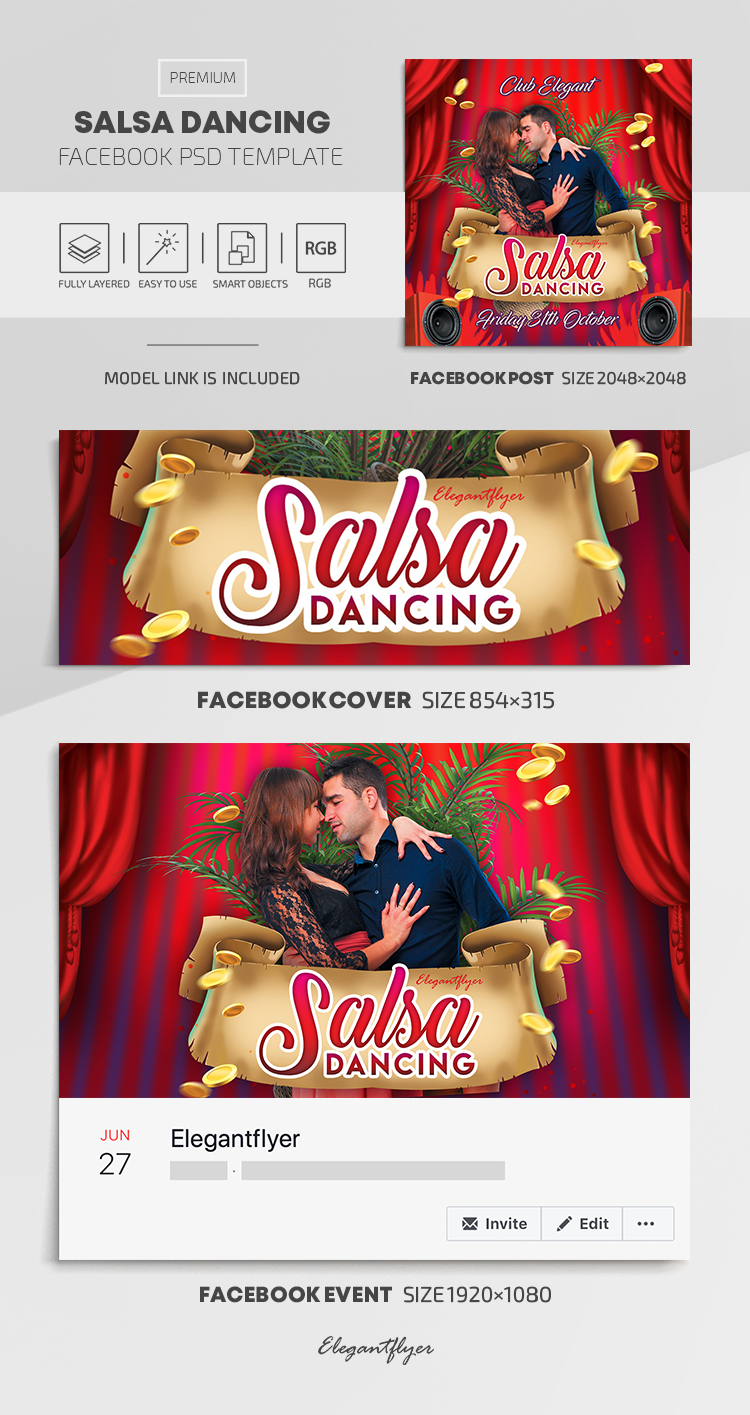 Salsa Dancing – Facebook Cover Template in PSD + Post + Event cover