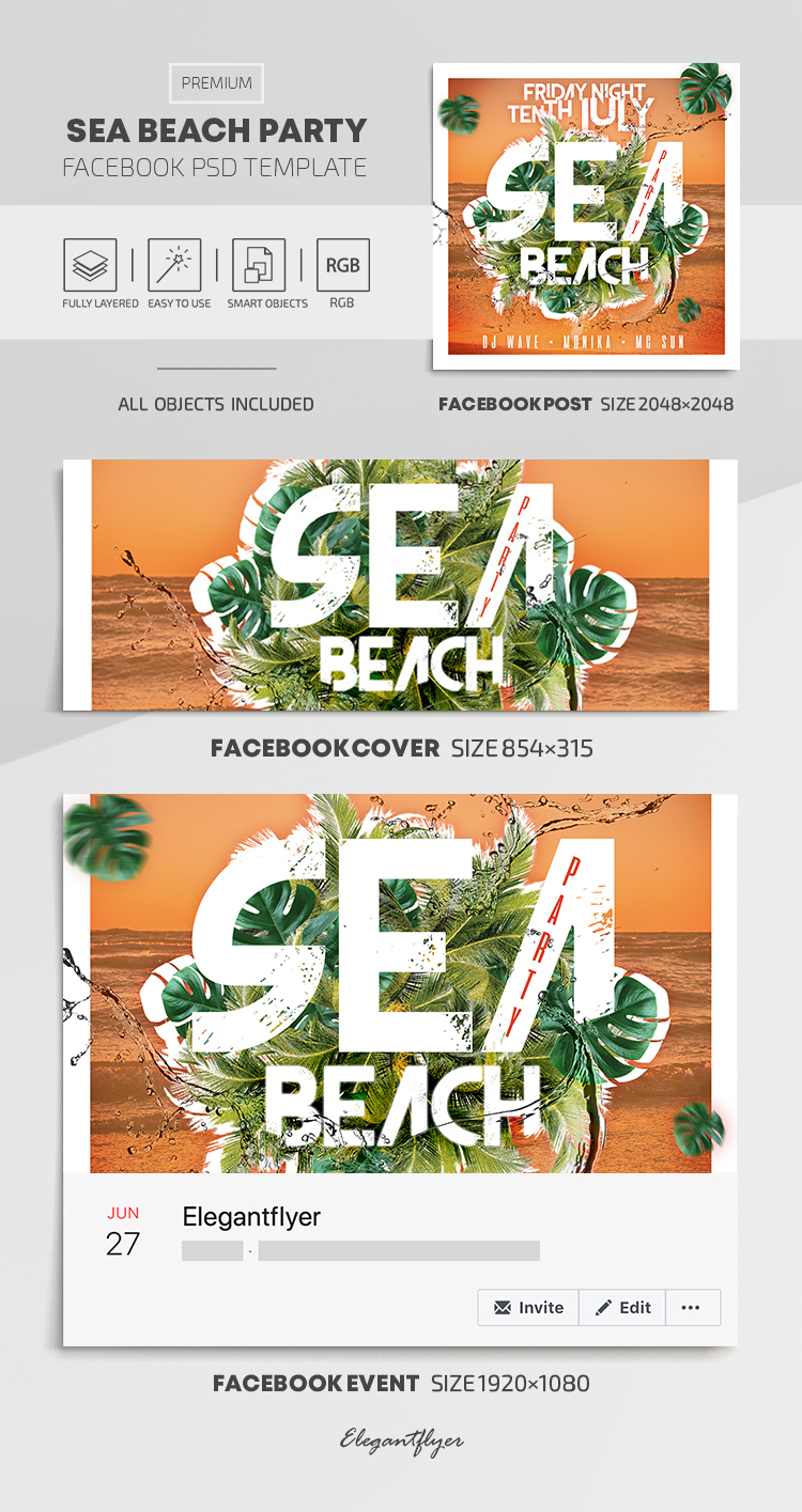 Sea Beach Party – Facebook Cover Template in PSD + Post + Event cover
