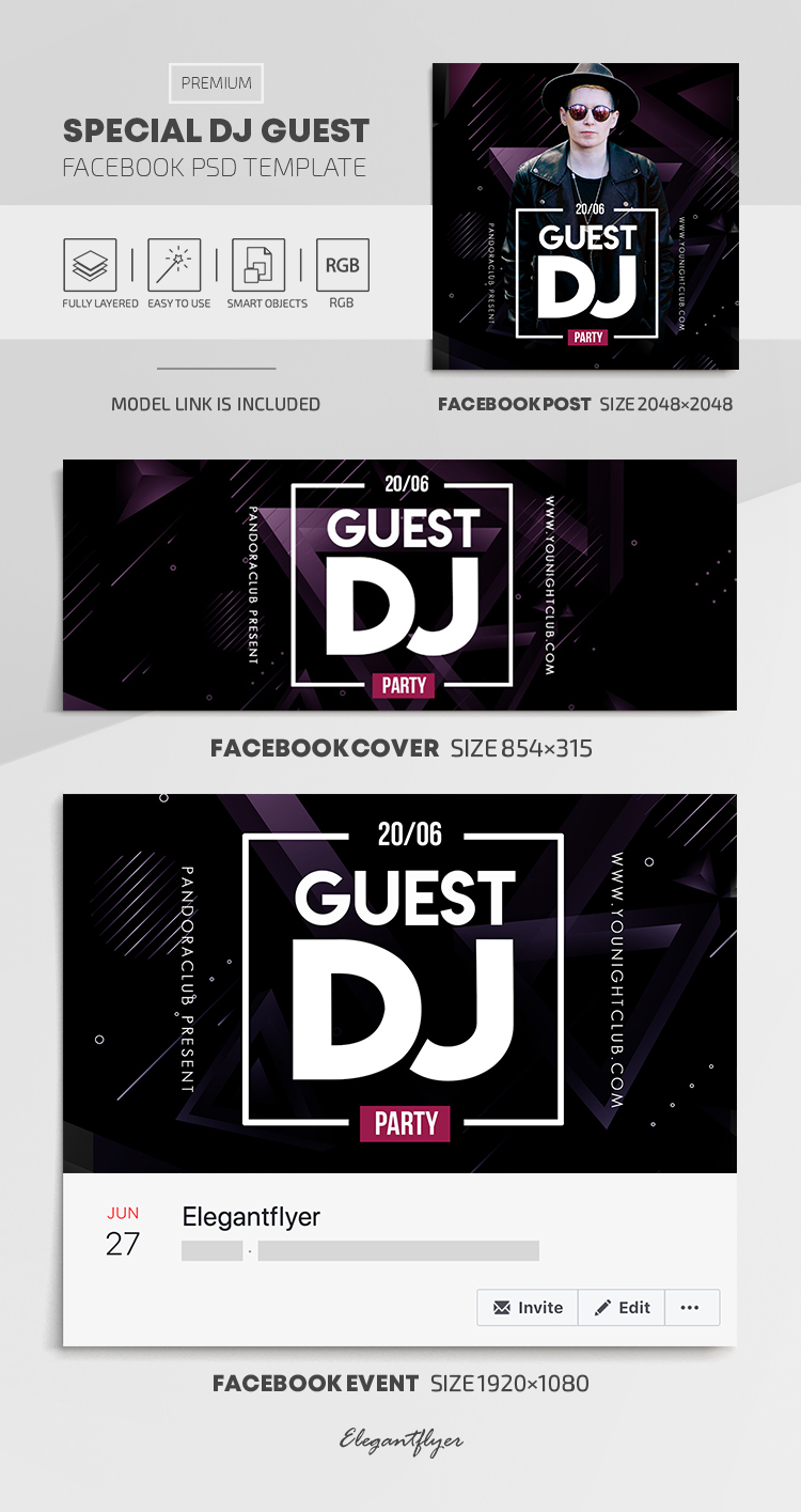 Special Dj Guest – Facebook Cover Template in PSD + Post + Event cover