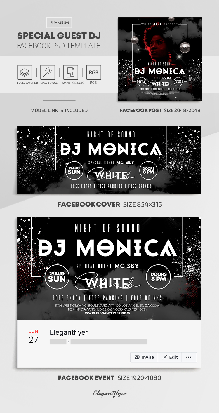 Special Guest DJ – Facebook Cover Template in PSD + Post + Event cover