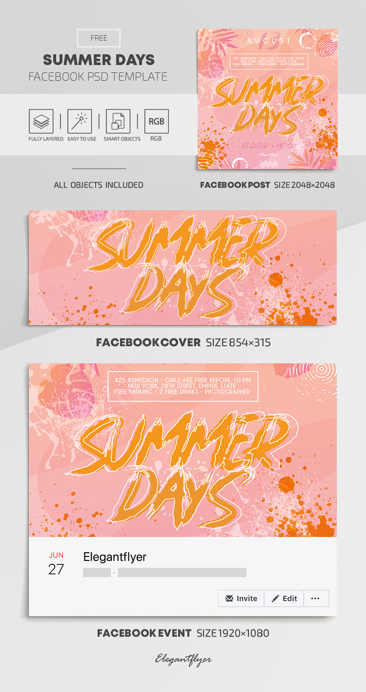 Summer Days – Free Facebook Cover Template in PSD + Post +