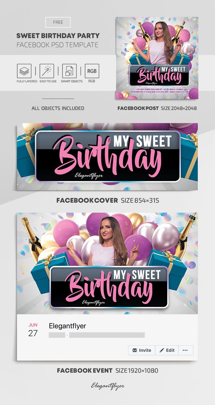 Sweet Birthday Party – Free Facebook Cover Template in PSD + Post + Event cover