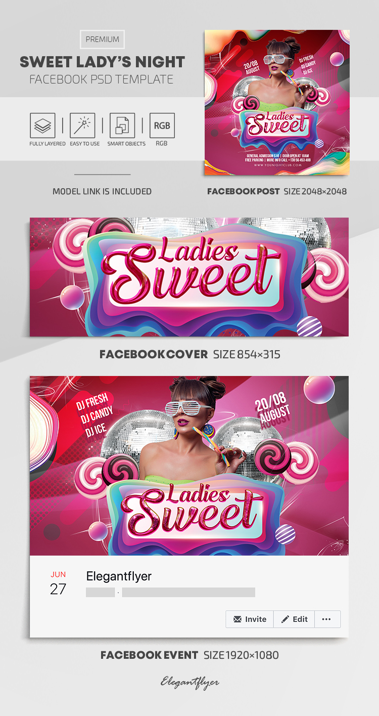 Sweet Ladie's Night – Facebook Cover Template in PSD + Post + Event cover