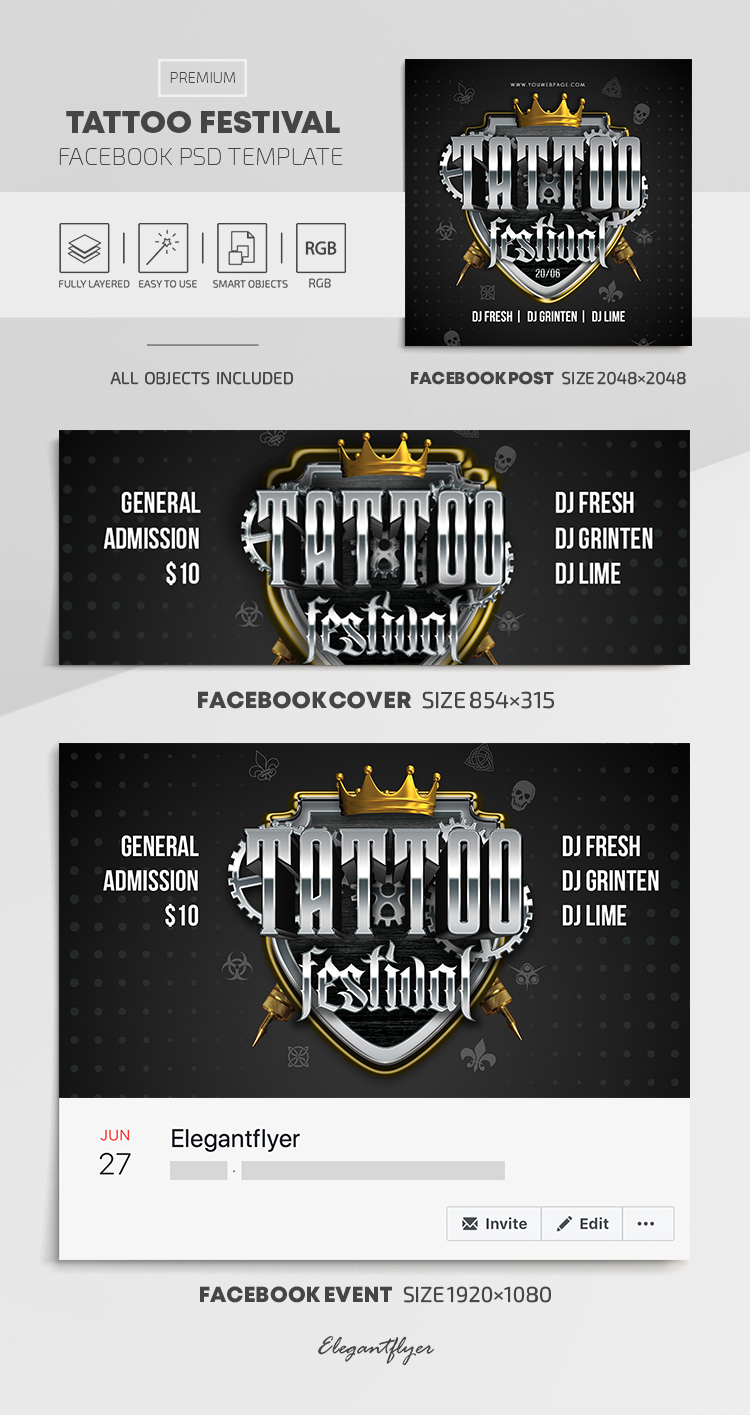 Tattoo Festival – Facebook Cover Template in PSD + Post + Event cover