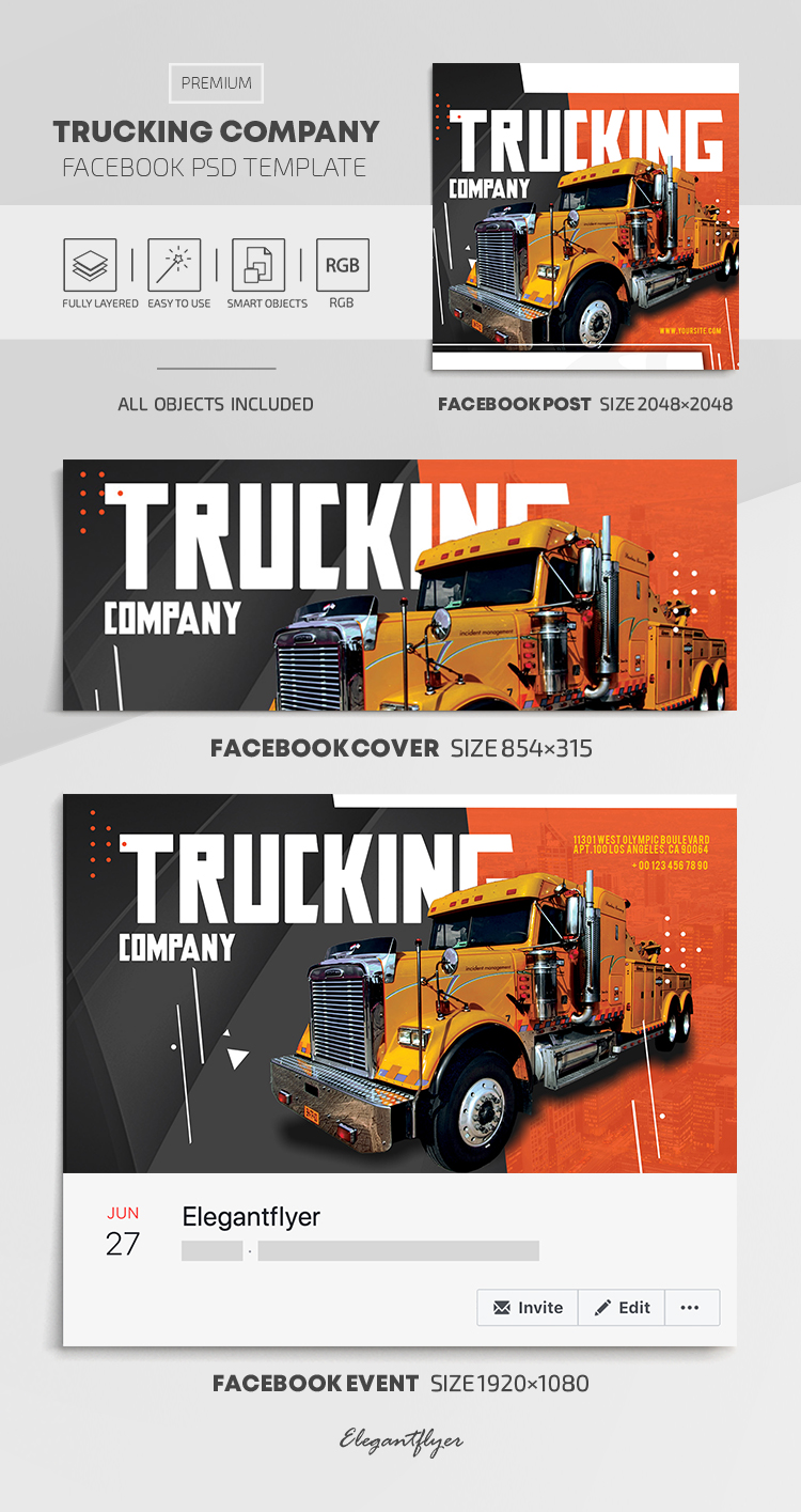 Trucking Company – Facebook Cover Template in PSD + Post + Event cover