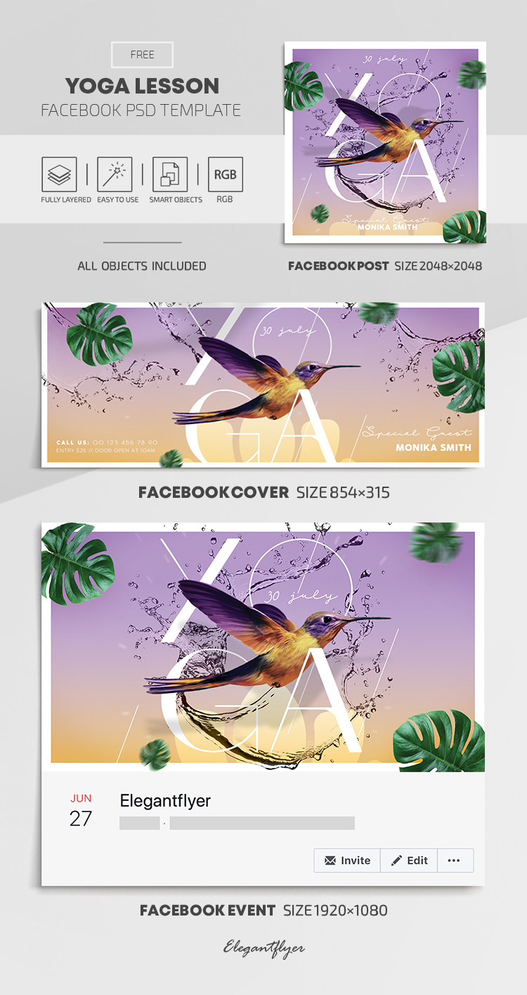 Yoga Lesson – Free Facebook Cover Template in PSD + Post + Event cover