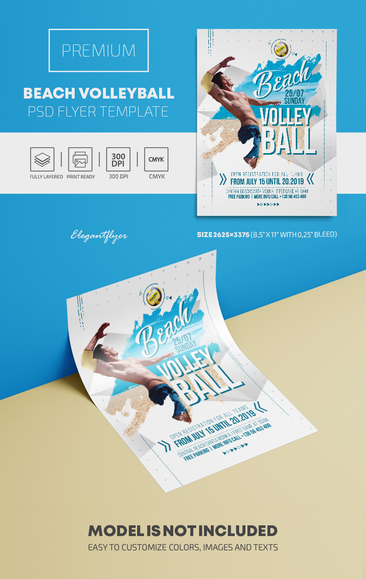 beach volleyball premium psd flyer template by. Black Bedroom Furniture Sets. Home Design Ideas