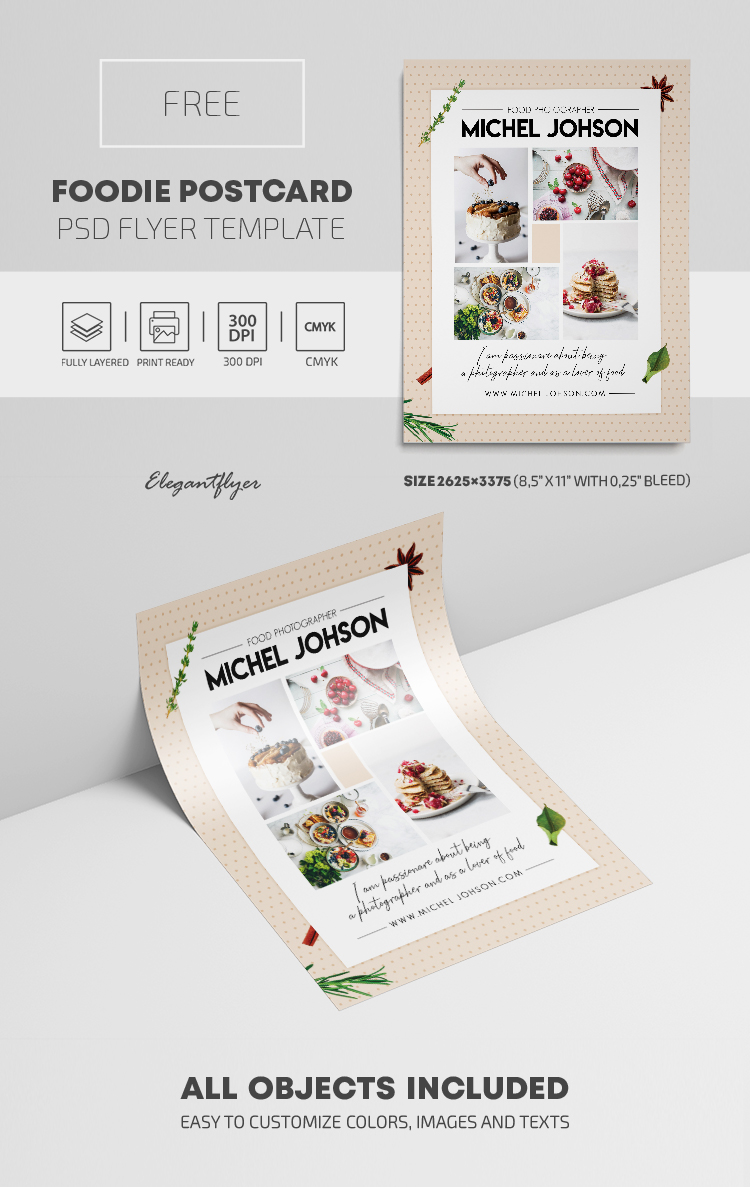 Foodie Postcard – Free PSD Flyer Template