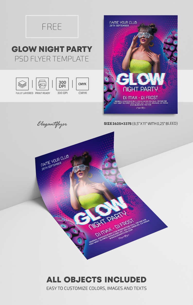 Glow Night Party – Free PSD Flyer Template – by ElegantFlyer
