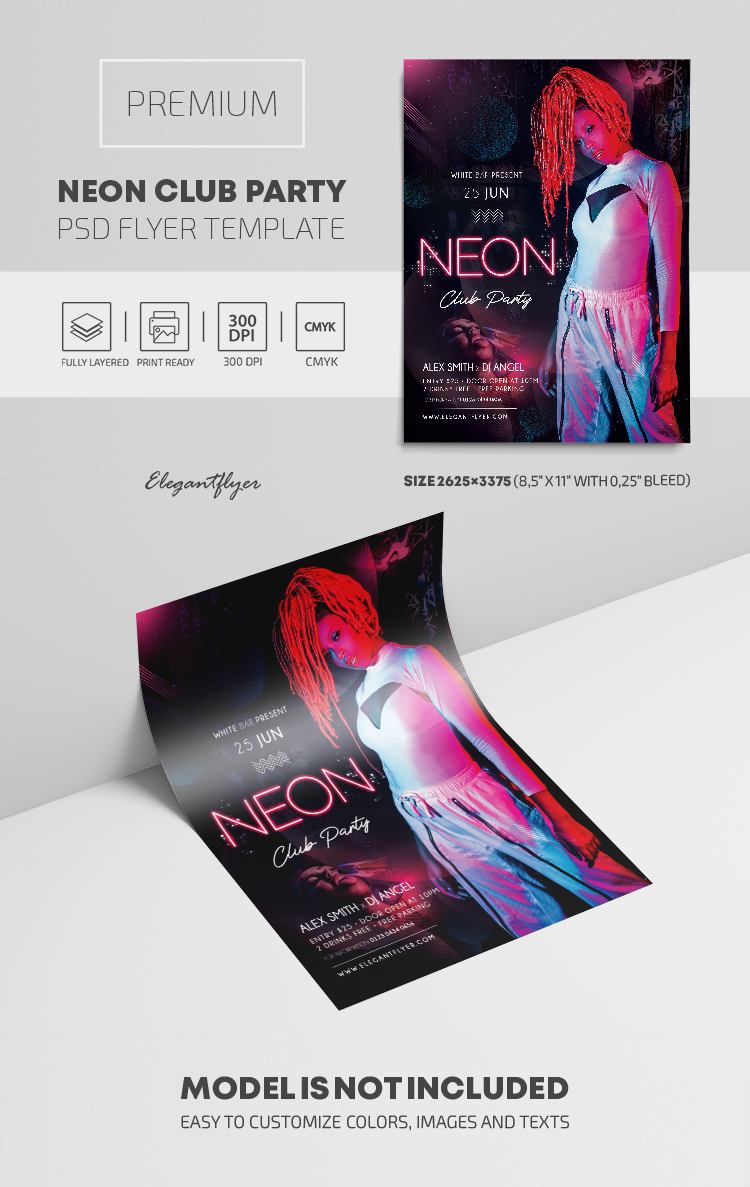 Neon Club Party – PSD Flyer Template