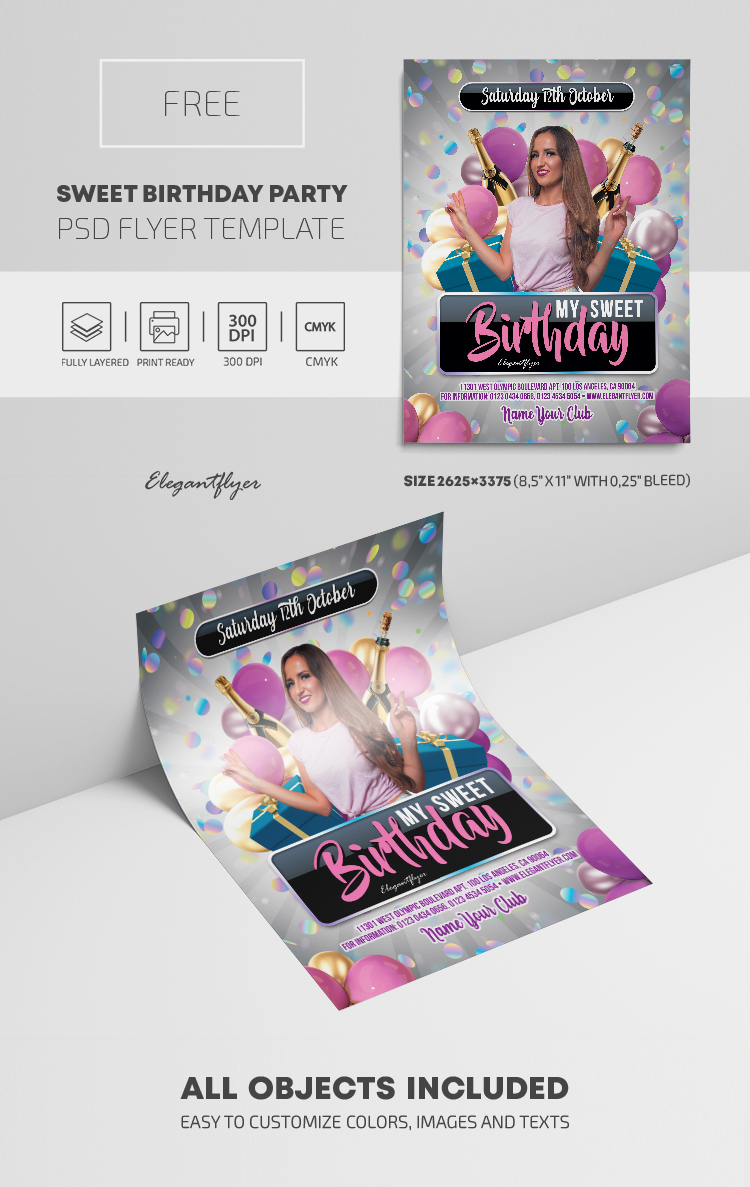 Sweet Birthday Party – Free PSD Flyer Template