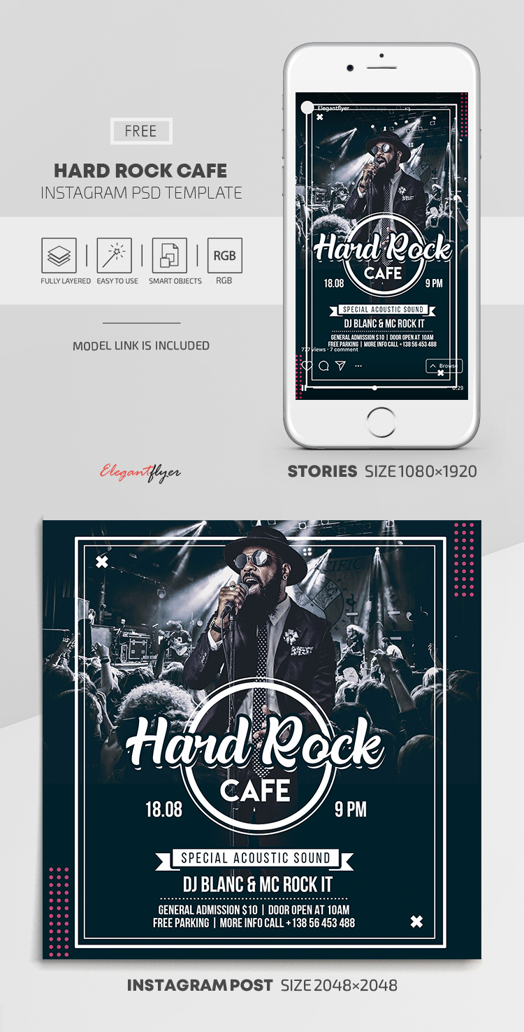 Hard Rock Cafe – Free Instagram Stories Template in PSD + Post Templates