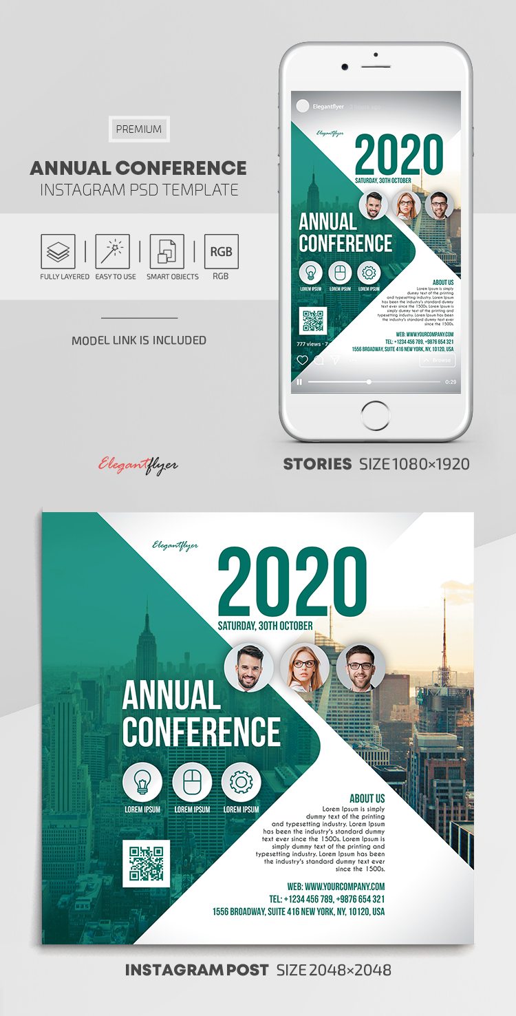 Annual Conference – Instagram Stories Template in PSD + Post Templates
