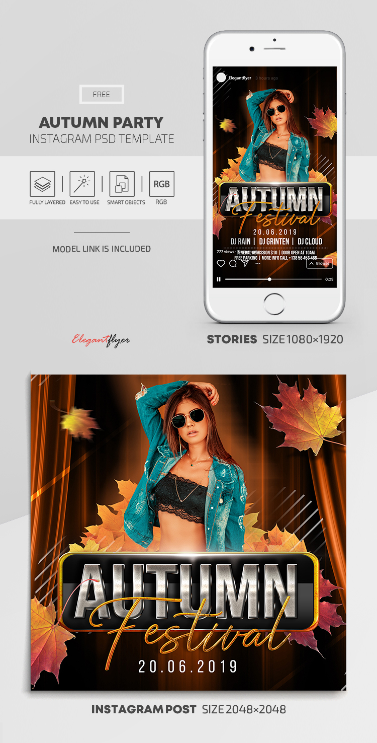 Autumn Party – Free Instagram Stories Template in PSD + Post Templates
