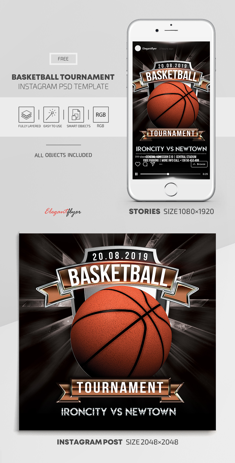Basketball Tournament – Free Instagram Stories Template in PSD + Post Templates