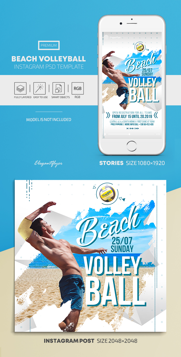 Beach Volleyball – Instagram Stories Template in PSD + Post Templates