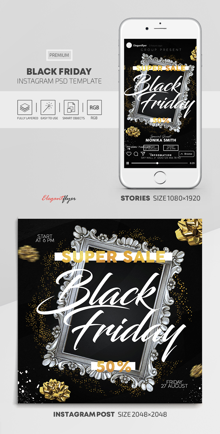 Black Friday – Instagram Stories Template in PSD + Post Templates