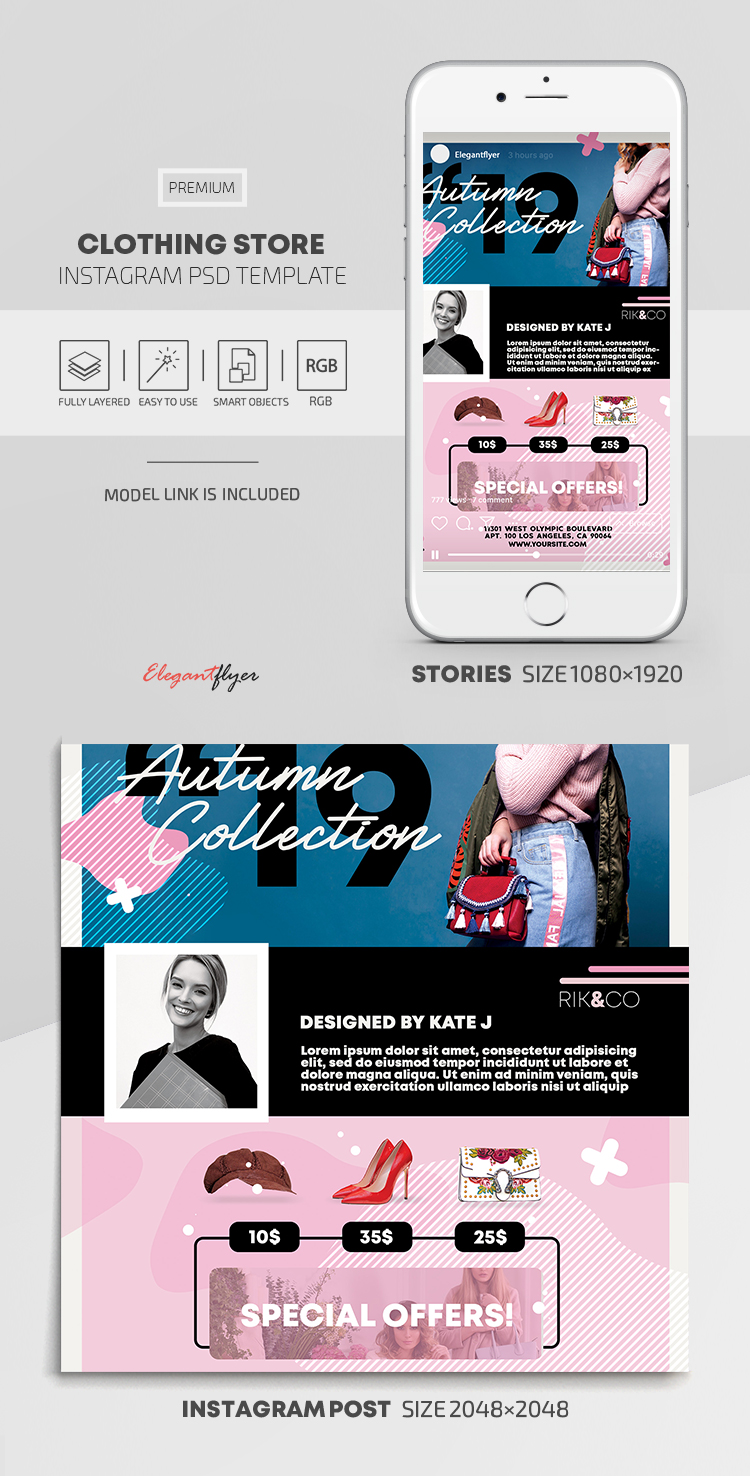 Clothing Store – Instagram Stories Template in PSD + Post Templates