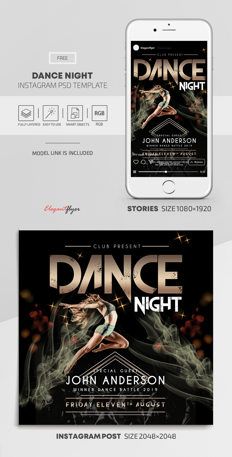 Dance Night – Free Instagram Stories Template in PSD + Post Templates