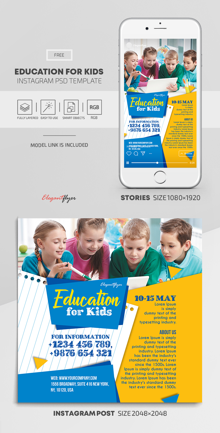 Education for Kids – Free Instagram Stories Template in PSD + Post Templates