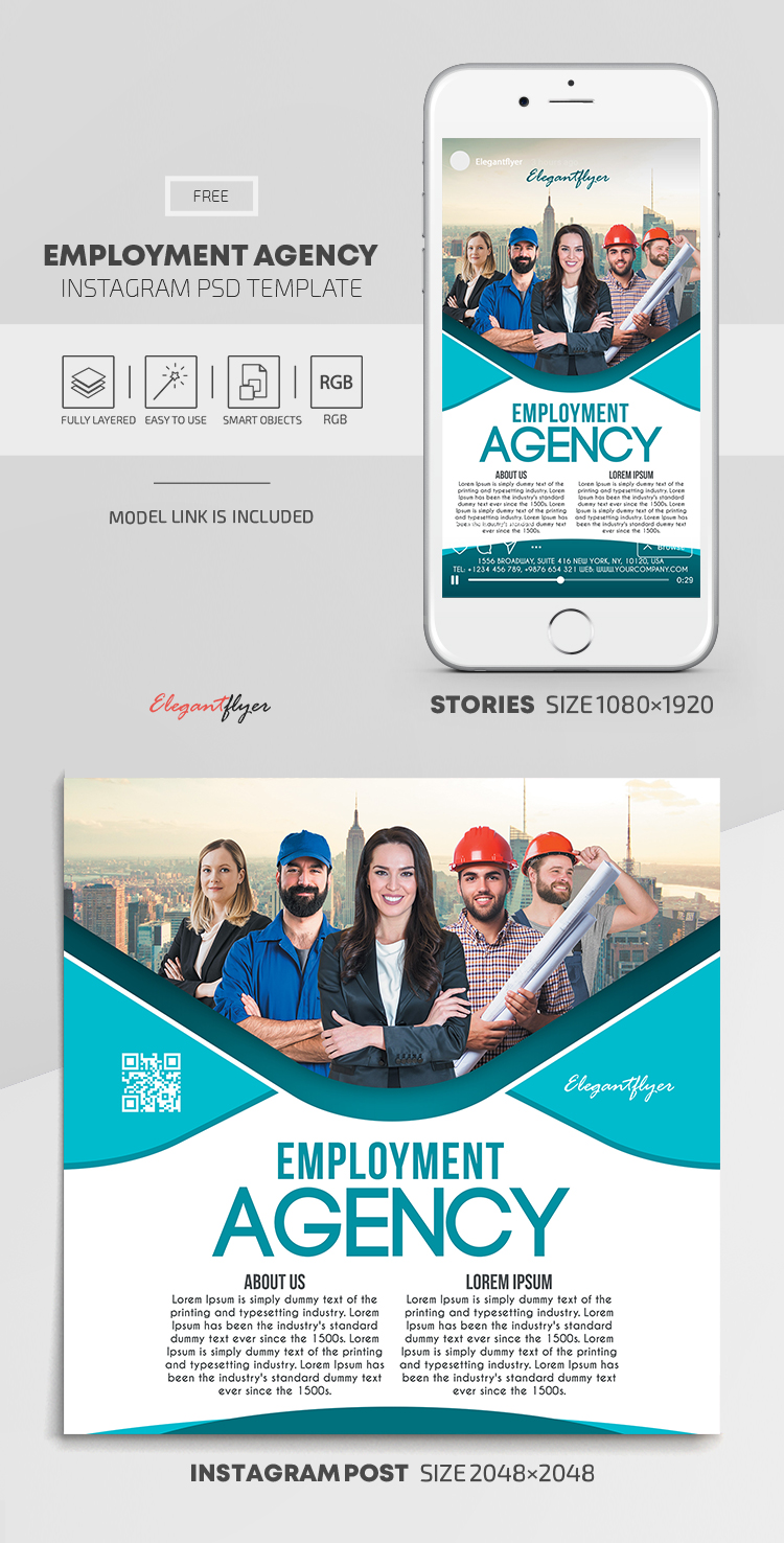 Employment Agency – Free Instagram Stories Template in PSD + Post Templates