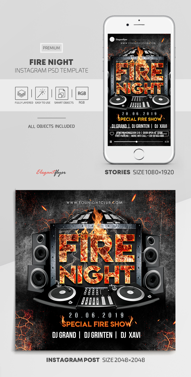 Fire Night – Instagram Stories Template in PSD + Post Templates
