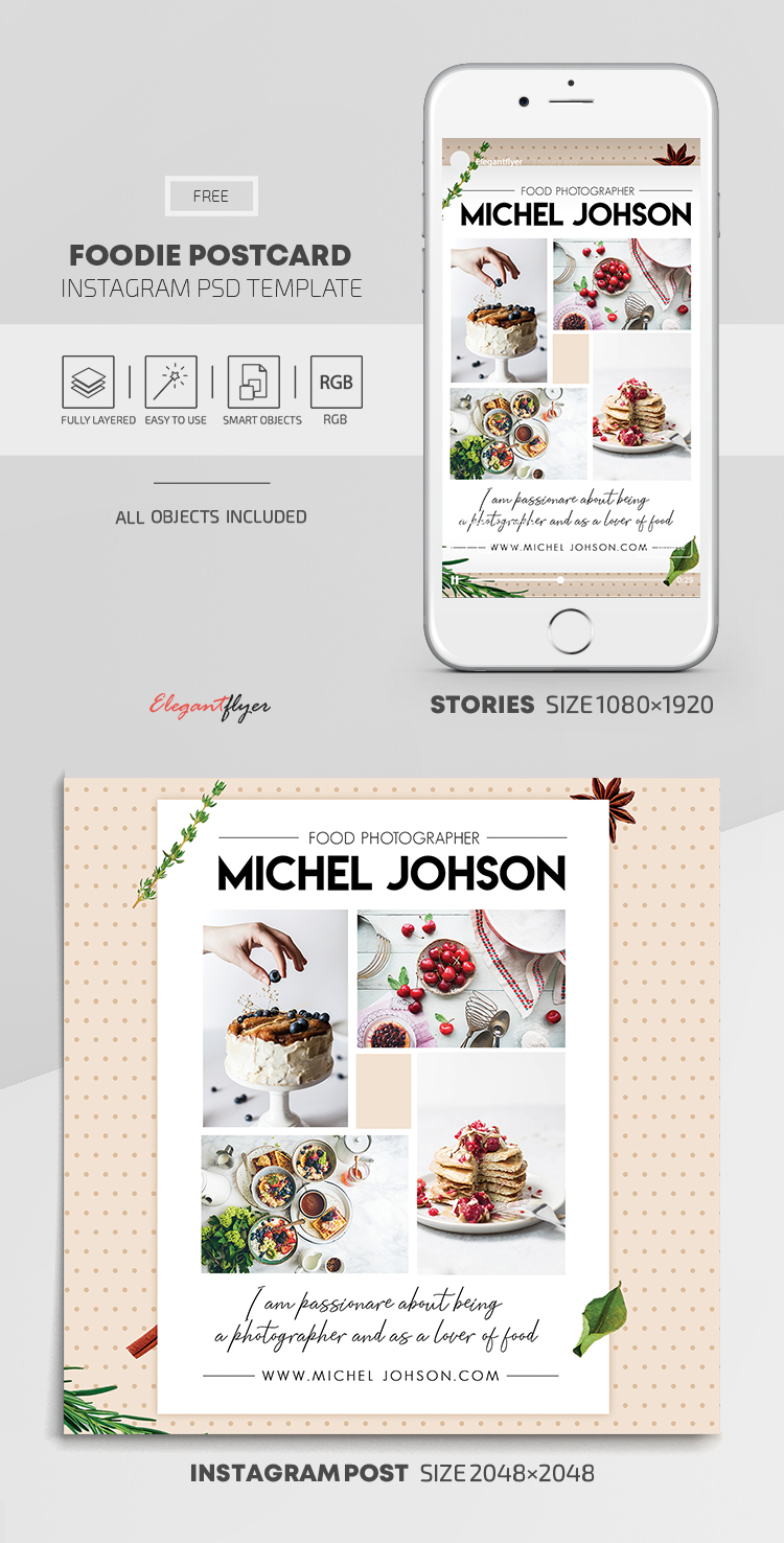 Foodie Postcard – Free Instagram Stories Template in PSD + Post Templates