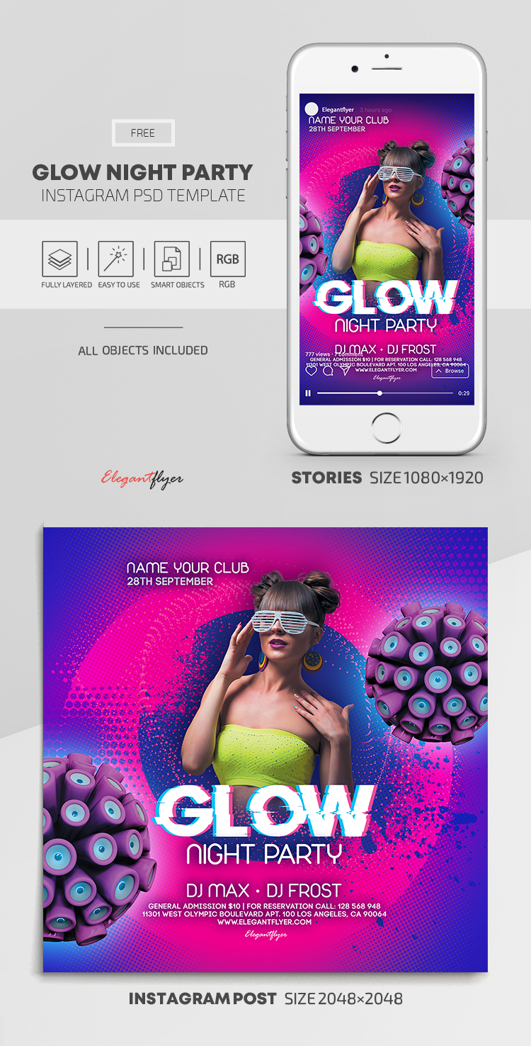 Glow Night Party – Free Instagram Stories Template in PSD + Post Templates