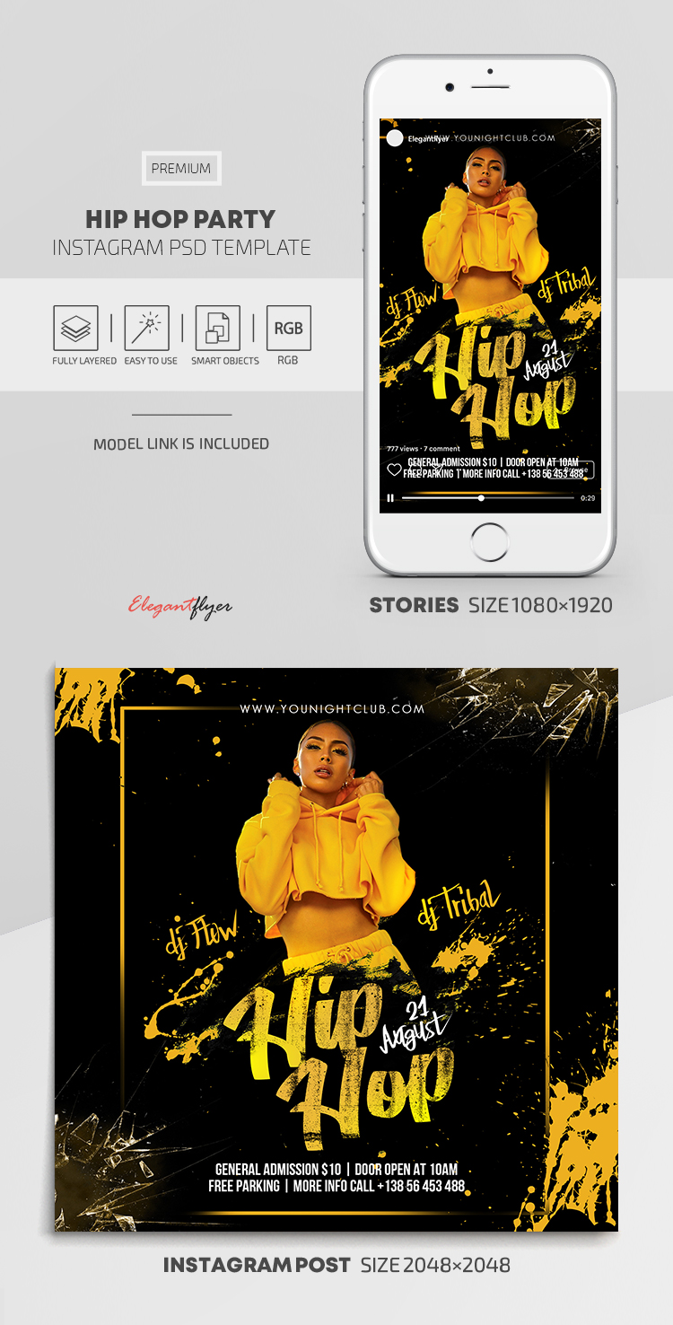 Hip Hop Party – Instagram Stories Template in PSD + Post Templates